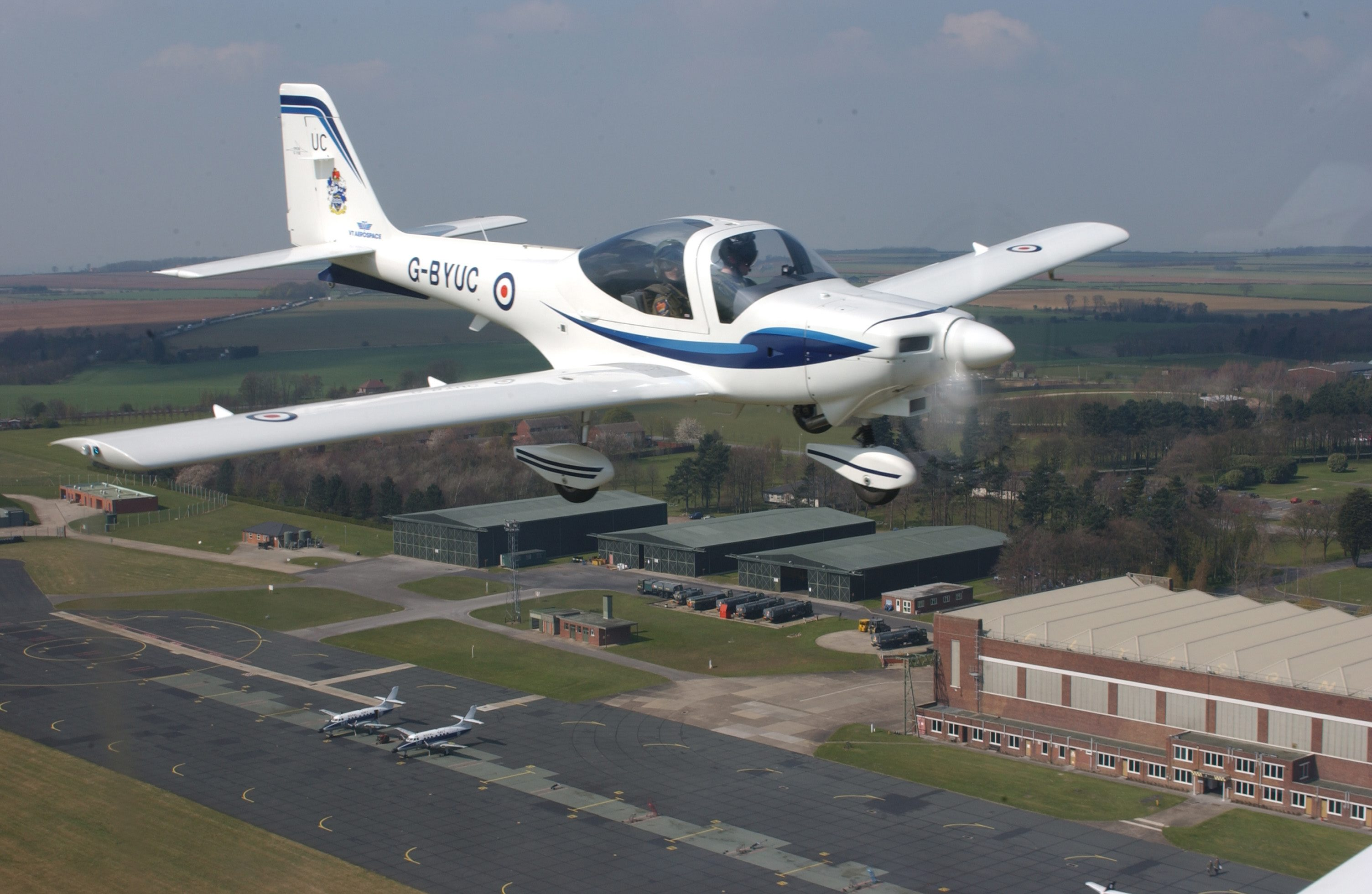 A Royal Air Force Grob Tutor photographed over Lincolnshire.